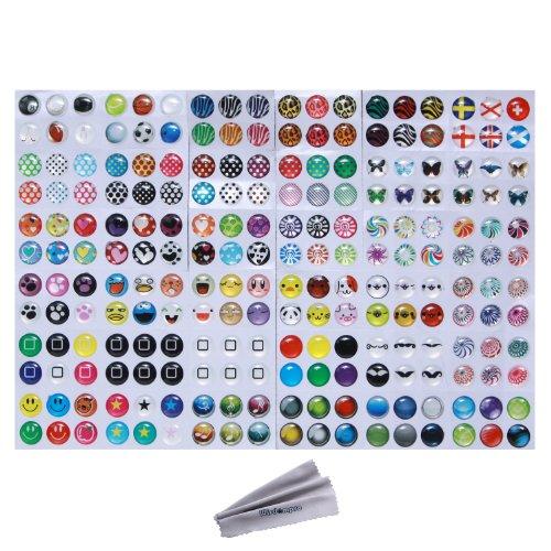 Wisdompro - Adesivi per tasto Home, 216possibilità di scelta: pois, bolle colorate, emoji e affini, compatibili con Apple iPhone 4S, 5 5C 5S, 6 6 Plus, SE, iPod Touch 4, 5, 6, iPad 3, 4, Mini 2, 3 e Air 2
