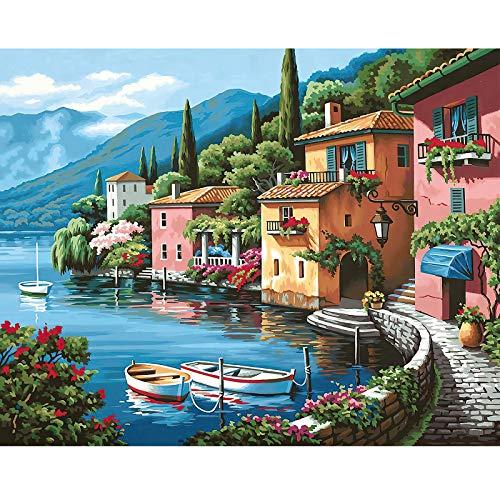 CofunKool Jigsaw Puzzle Adulti 1000 Pezzi Puzzle di Cartone (Paesaggio Lago di Como)