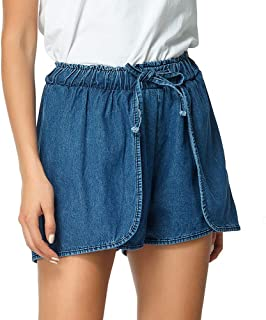 Women's Denim Shorts, Stylish Loose Washed Lace-Up Shorts Elasticated Waist Jeans Suitable for Beach Party Work,b,S
