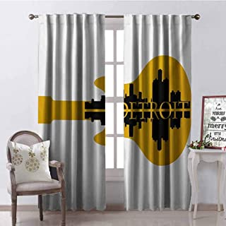 GloriaJohnson Detroit Blackout Curtain High Rise Buildings Silhouette Reflection Electric Guitar Instrument Music Theme 2 Panel Sets W52 x L63 Inch Yellow Black
