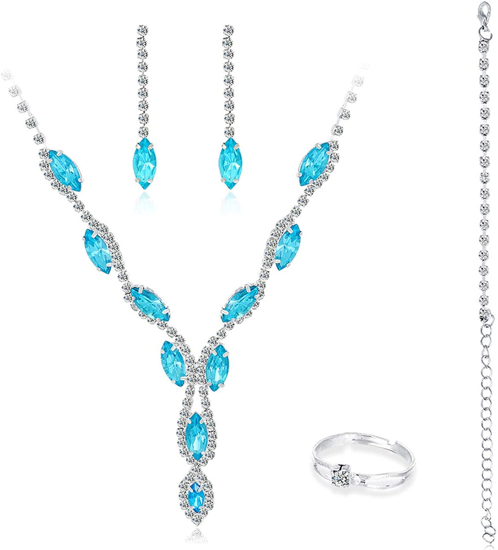 Women's Fashion Jewelry Sets,4Pcs/Set Fashion Rhinestone Necklace Ring Bracelet Earrings Jewelry Gift