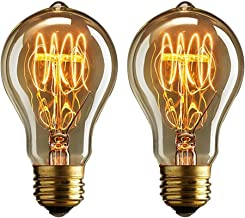 Dos bombillas vintage Edison de 40 vatios de Buyee, de luz blanca y cálida y con filamentos de hilo de estilo jaula