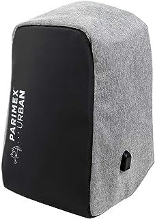 PARIMEX URBAN Mochila Backpack Conexión USB. Waterproof.15L. 44 cm. Poliéster Jaspeado Gris Combinado con Polipiel Negro. (Gris Combinado con Negro)