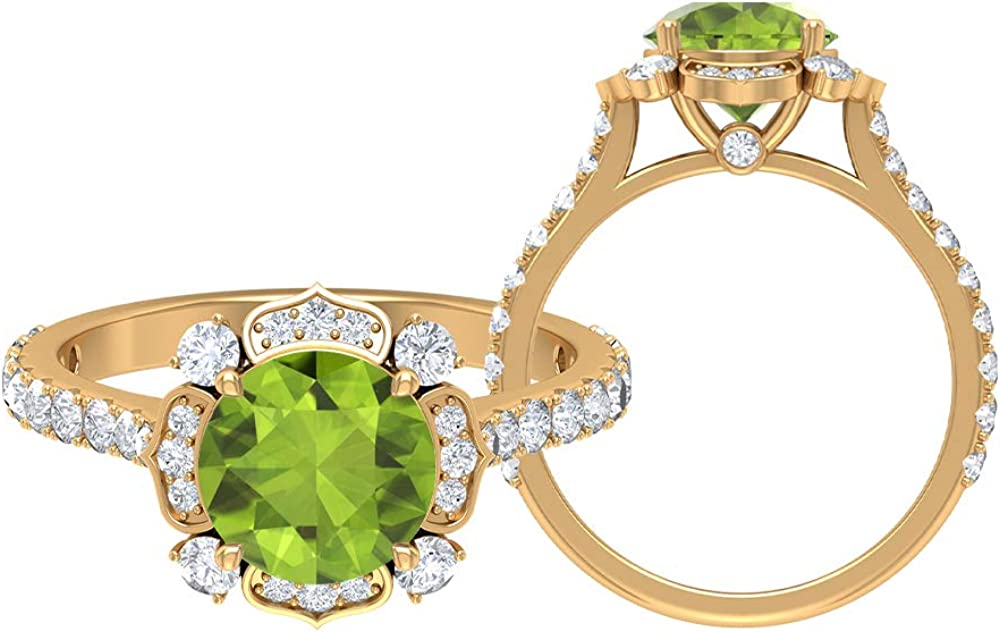 Antique Floral Ring Solitaire Gold Round CT Gemstone Dallas Mall Cheap mail order shopping 2.77