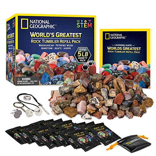 National Geographic Rock Tumbler Refill – 5 Pound Mix of Rocks and...