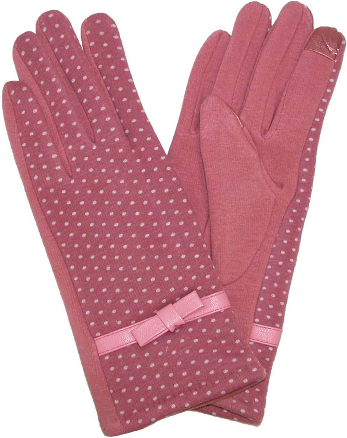 Womens Pink Polka Dot Bow Stretch Fit Texting & Tech Touchscreen Gloves