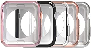 Simpeak 5 Packs Compatible with Apple Watch Case 44mm, Soft TPU Frame Protector Case for iWatch 44mm Apple Watch Series 4 Series 5, Sport, Edition, Clear, Black, Gold, Rose Gold, Silver