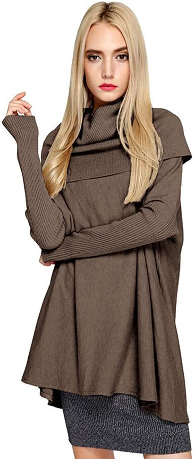Cheng Xiang Women's Turtleneck Long Sleeves Knit Stretchable Elasticity Loose Long Sweater Dress