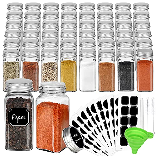 CycleMore 48 Pack 4oz Glass Spice Jars Bottles, Square Spice Containers with Silver Metal Caps and Pour/Sift Shaker Lid-80pcs Black Labels,1pcs Silicone Collapsible Funnel and 2pcs Brush Included