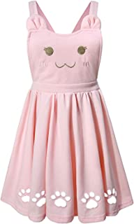 Doballa Women's Ajustable Suspender Love Heart Cat Face Embroidered Cute Paw Hollow Out Lolita Strap Skirt with Pockets
