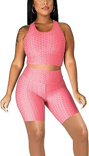 Mrskoala Women 2 Piece Outfits Jogging Yoga Biker Shorts Workout Sets Cute Sexy Loungewear Sweatsuits Track Suits
