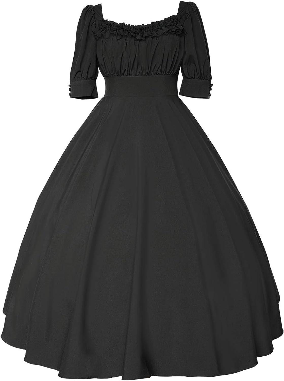 YANHUIG Women's New sales Solid Color Elegant Dress Mid-Sleeve Lolita Nippon regular agency Mid-