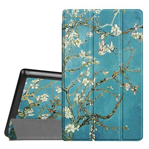 Fintie Hülle für Amazon Fire HD 8 Tablet (7. & 8. Generation - 2017 & 2018) - Superdünne Lightweight Schutzhülle Tasche mit Standfunktion & Auto Schlaf/Wach Funktion, Mandelblüten