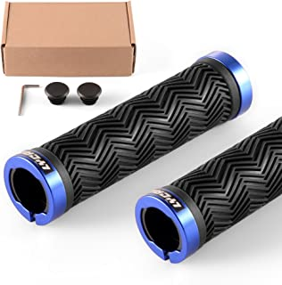 LYCAON Bike Handlebar Grips, Classic / Ergonomic Grips, Two Sides Locking Non-Slip-Rubber Bicycle Handle Grip for Cycling Mountain Road Urban Folding Bike