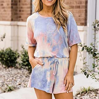 Summer Ladies Shorts Loose Casual Woman Rompers Sexy Tie-Dye O-Neck Sleeve Jumpsuit