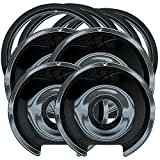 Range Kleen P1056RGE8 Style D Black Porcelain 4-Pack Drip Pans and 4-Pack Trim Rings for GE/Hotpoint