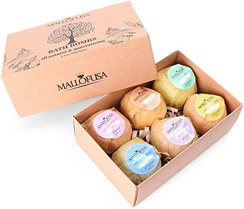 wholesale Mallofusa Bath Bomb, 6 x 3.5 oz Gift Set Moisturizing with Organic & All high quality Natural Essential Oils, Jojoba online sale Oil, Shea Butter, Fizzies Spa Kit - Best Gift Idea for Her Add to Bath Bubbles Bath Basket outlet sale