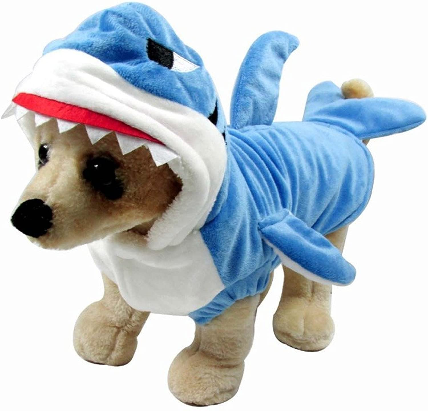 Mogoko Funny Dog Cat Shark Costumes, Pet Halloween Christmas Cosplay Dress, Adorable bluee Shark Pet Costume,Animal Fleece Hoodie Warm Outfits Clothes (XXXL Size)