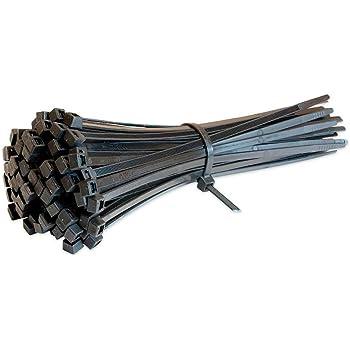 Dosige Lot de 100 Colliers Nylon Noir Serre-C/âbles Attaches de Cable en Plastique Blanc