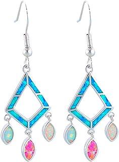 Pendientes colgantes de plata de ópalo de fuego blanco y rojo para mujer, regalo de fiesta, joyería de moda OE603
