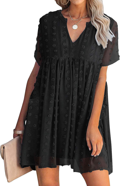 Kikula 2021 Women's Casual Short Sleeve V Neck Mini Dress Solid Swiss Dot Flowy Dress Loose Summer Dresses