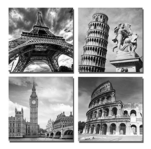 European Architecture Canvas Print Leaning Tower of Pisa & Eiffel Tower Italy Roman Colosseum & London Big Clock Wall Art Classical Artwork 30x30cm