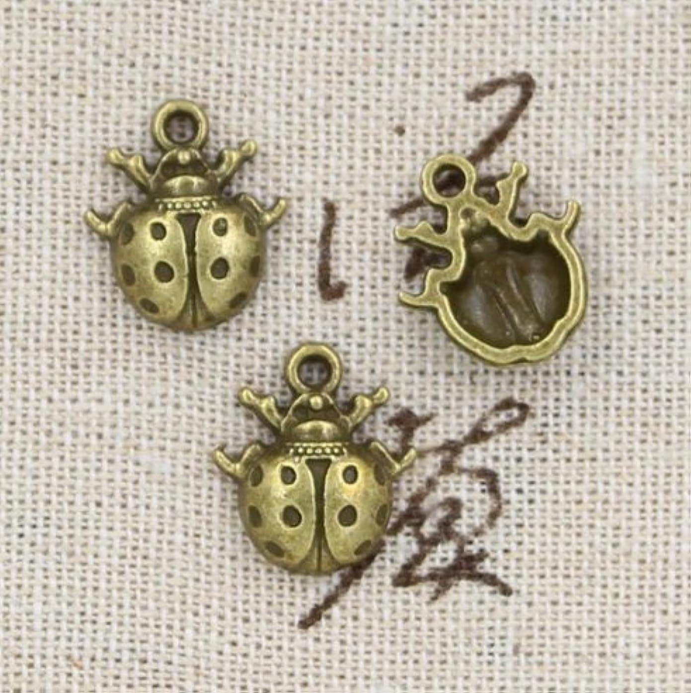 12 Ladybug Charm Antique Bronze Charm Antique Bronze Plated Metal (16x14mm) (CB189)