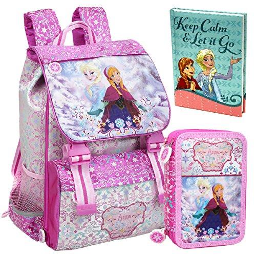 Disney Frozen CLONDO-0025 Zaino da Scuola, Estensibile + Astuccio, 3 Scomparti + Diario Scuola, Elsa, Anna