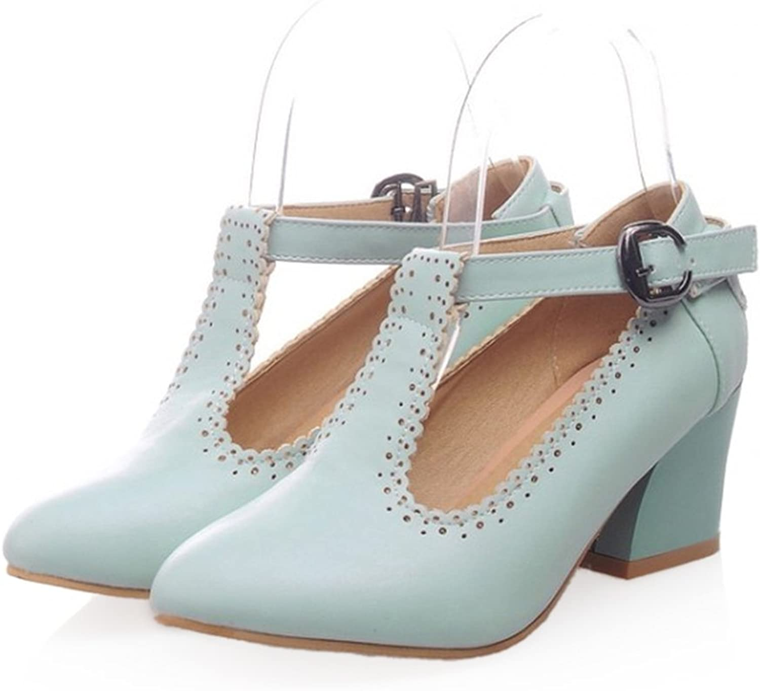 Small Pointed Buckle Thick Heel Thin shoes bluee 39