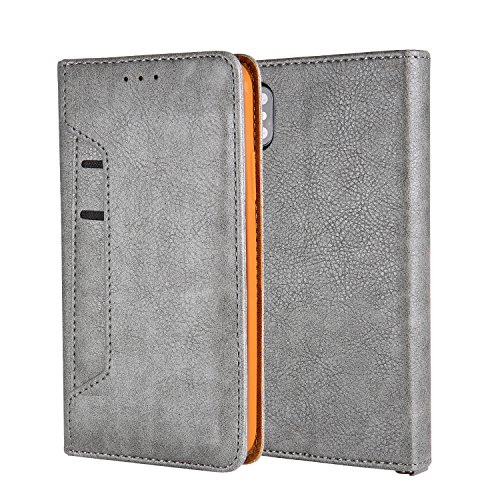 iPhone X Wallet Case With Stand Feature, Additional Pocket Protective Card Card Slim Leather Shockproof Hybrid Case for Apple iPhone X iPhone 10 (Grey)