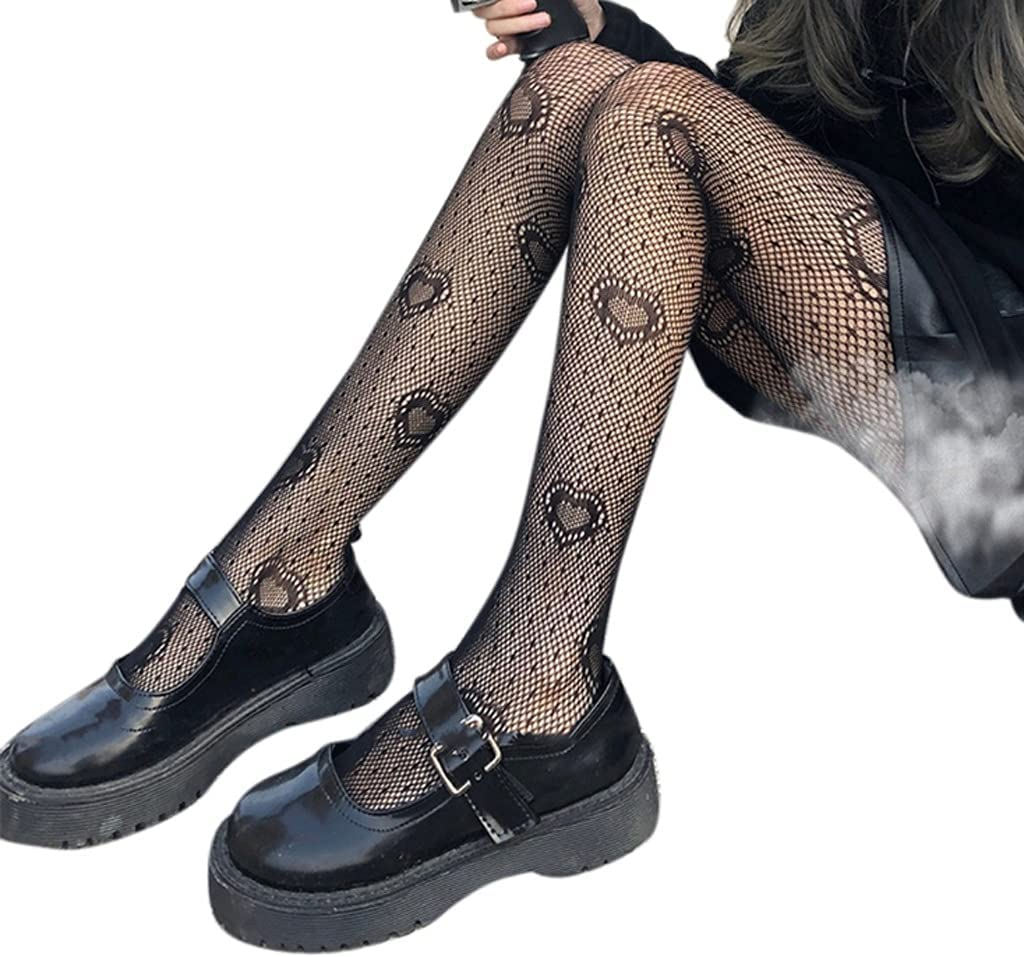 GYZX Women Black Heart Dot Jacquard Fishnet Pantyhose Hollow Out Mesh See-Through Tights Stockings Lingerie (Color : Black, Size : One Size)