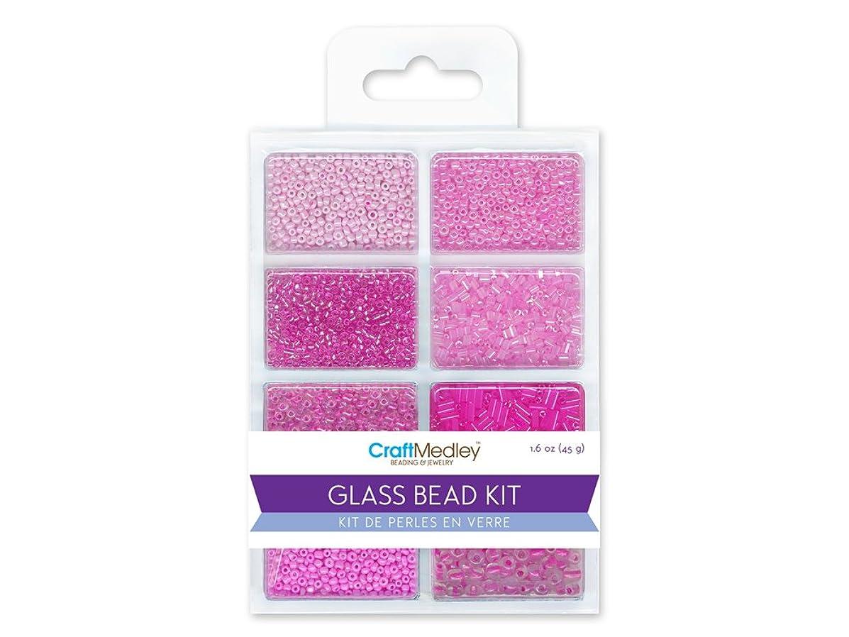 CraftMedley Glass Bead Kit, 45g, Rocailles/Seed/Bugles, Blush