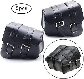 Qlhshop 2pcs Motorcycle Saddlebags PU Leather Saddle Side Bags for Harley Sportster XL 883 1200 (Black Saddlebags)