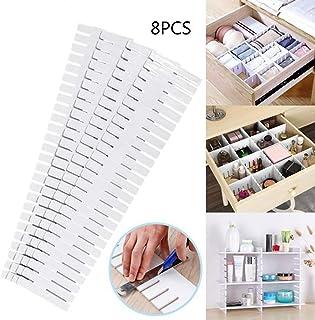 KEISL - 8 separadores de cajones de plástico Ajustables con Ranuras para organizar cajones y cajones, separadores de Armario de plástico, 32,4 x 7 cm