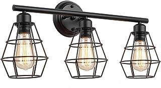 Industrial Indoor Wall Lamp Black Bathroom Vanity Light, Metal Wire Cage Wall Light Mirror Front Lamp, E27 Retro 3 Lights ...