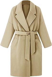 معطف نسائي من SportsXX مصنوع من مزيج من الصوف وبأشرطة فضفاضة مقاس إضافي معطف منسوج