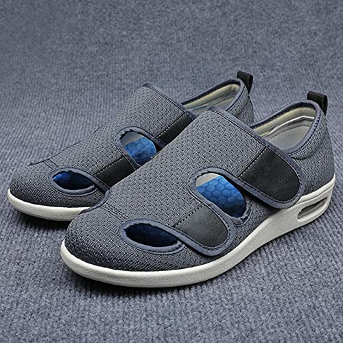 HFCY Zapatos para Diabéticos Hombres Ajustable Zapatos Pantufla Anciano Diabético Obesidad Zapatillas,Ajustable, Antideslizante, Cómodo para Pies Hinchados, Artritis Y Edema,Gray-EU39/245mm
