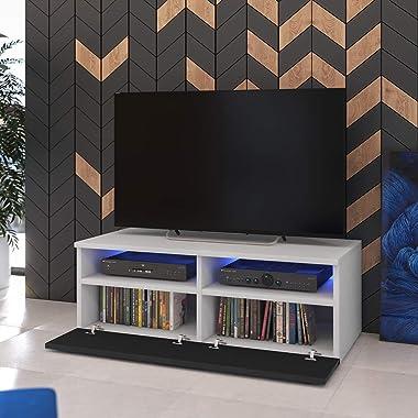 Selsey PHIRIS - Meuble TV/Banc TV (100 cm, Blanc Mat/Noir Brillant, éclairage LED)