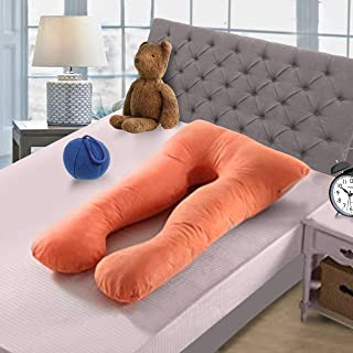 cocafit industries Hollow Conjukated Fiber Home Washable Maternity Pillow with Cotton and Zippered Cover (Orange)