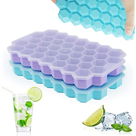 Upgrade Ice Cube Trays, TGJOR 2 Pack Silicone Flexible Ice Cube Trays with Lid, 74 Cubes Ice Trays for Chilled Drinks, Whiskey & Cocktails, Stackable Flexible Safe Ice Cube Trays (blue+purple)