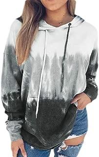 Women Fashion Pullover Long Sleeve Tie Dye Print Hooded Sweatshirts
