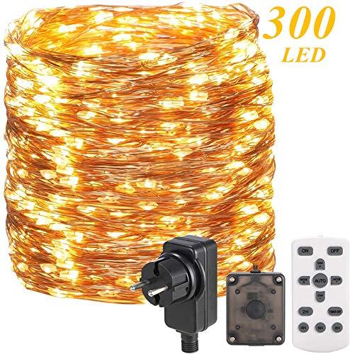 30M 300 LED Lichterkette Außen/Innen,OxyLED Lichterkette Draht aus Kupferdraht,8 Modi IP65 Wasserdicht mit Fernbedienung Lichterkette Steckdose Dimmbar Lichterkette für Zimmer,Weihnachten,Party