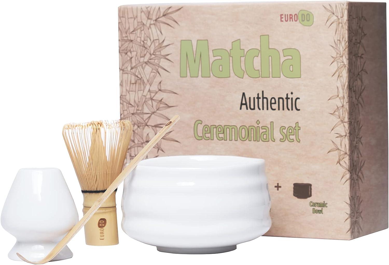 EURODO Juego de ceremonia de té japonés Matcha - Batidor de bambú (Chasen) - Cuchara de bambú (Chashaku) - Soporte de batidor y Bole de cerámica (Ceremonial Set)