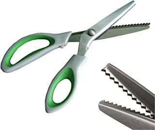 JISTL Green Pinking Shears Comfort Grips Professional Dressmaking Pinking Shears Crafts..