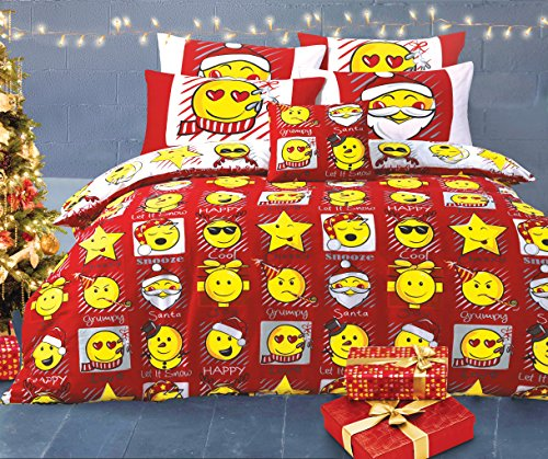 Velosso Christmas Emoticon Duvet/Quilt Cover Red/White Reversible Xmas Bedding Set Smiley Bedding Mojis/Faces/Expressions/Emoticons (Double)