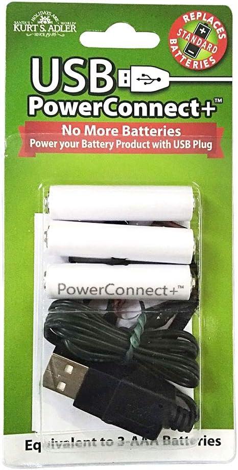 Kurt S. Adler 3-AAA Converter USB Power Connect, Multi