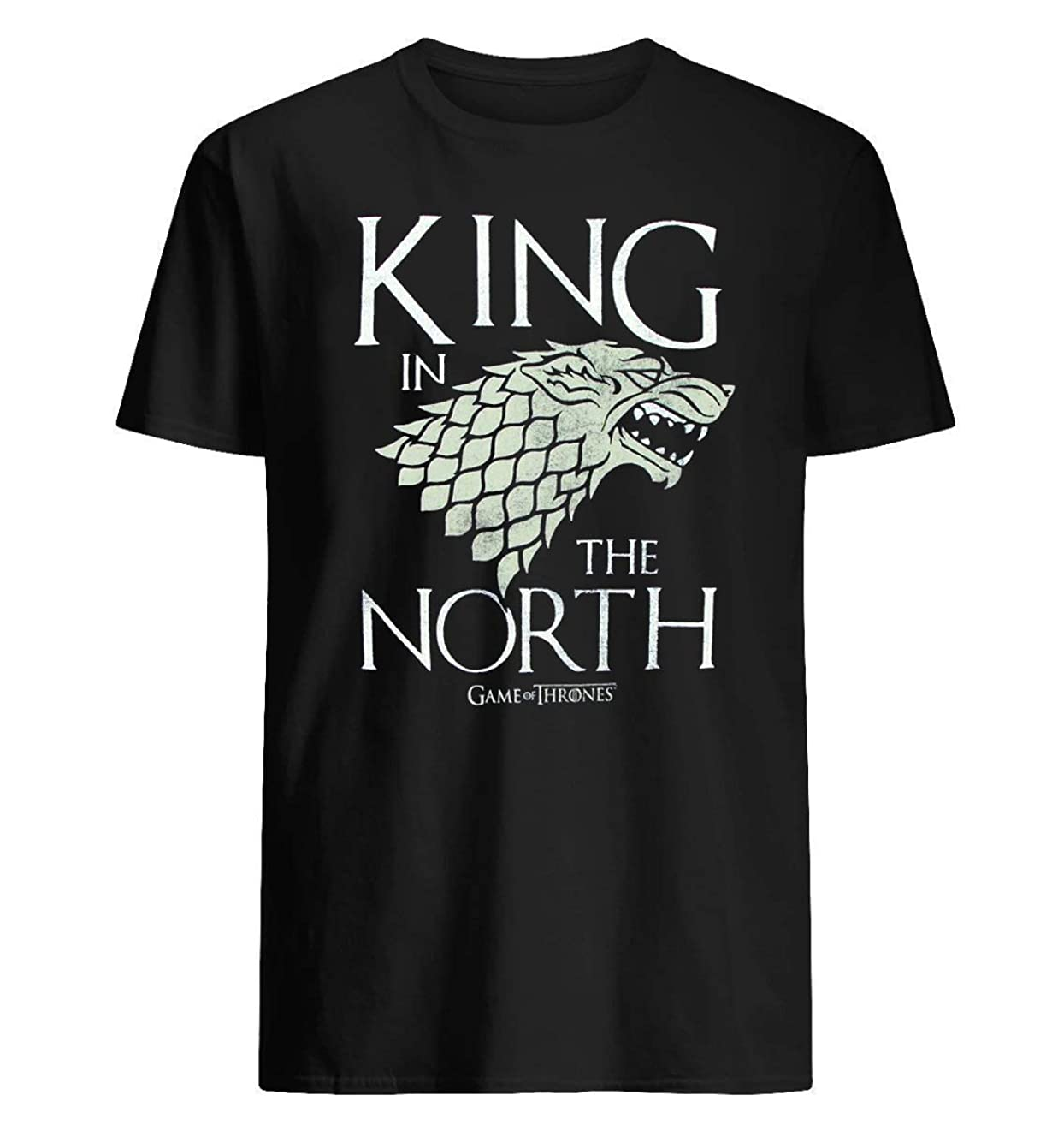 King in The North Mens Black Heather - Game of Thrones Stark 1