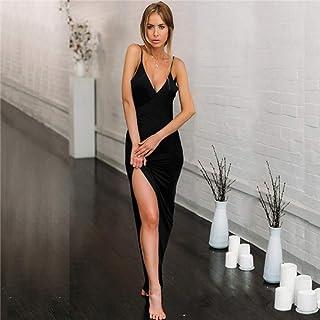 3d45554eeed JJHR robe de soiree Femmes Robe Robe De Soirée Élégante Eté Solide Fente  Maxi Dress Deep