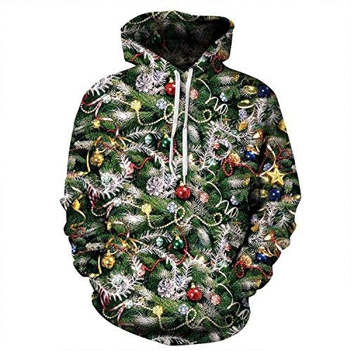 Cfanny Couple Cute 3D Santa Print Ugly Christmas Pocket Sweatshirt Hoodies,Christmas Lights Hoody,XL
