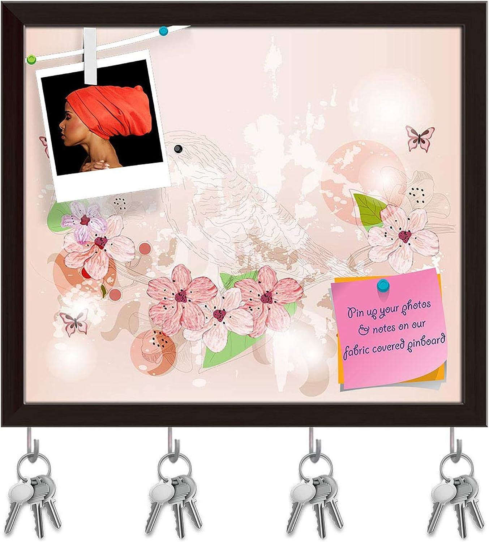 Artzfolio Spring Scene Key Holder Hooks   Notice Pin Board   Dark Brown Frame 18.4 X 16Inch